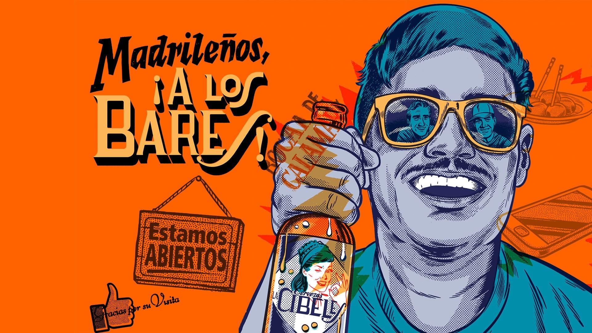 Madrileños a los bares La Cibeles
